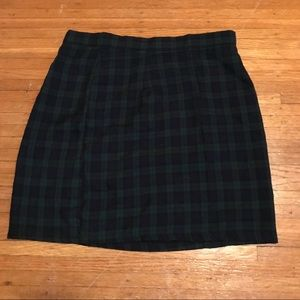 Blue and green flannel plaid skirt